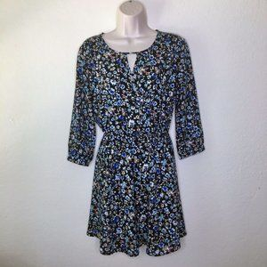 Lush Faux Wrap Fit & Flare S Floral Black Dress